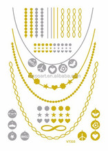Non-Toxic golden and Silver Metallic Temporary flash tattoo sticker jewelry 2015