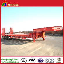 3 axles 50-60tons truck towing lowboy low deck gooseneck low bed semi trailer