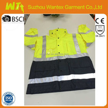 Hi-Vis Protective Safety Padded Jacket Made-in 300D Oxford With PU Coating Fabric And High Reflective Tape