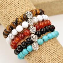 2015 New Designs Mens Bracelets Wholesale Natural Stone Beads Lion Head Bracelets