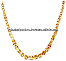 pure citrine gold necklace,Single line pointers gemstone gold necklace design,lovely design citrine gold neck chain for womens