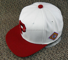 Red/white design your own snapback hat online,custom blank snapback cap with leather brim