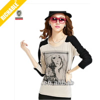 fashion girl art mature design style cheap price ladies t-shirt picture silkscreen print