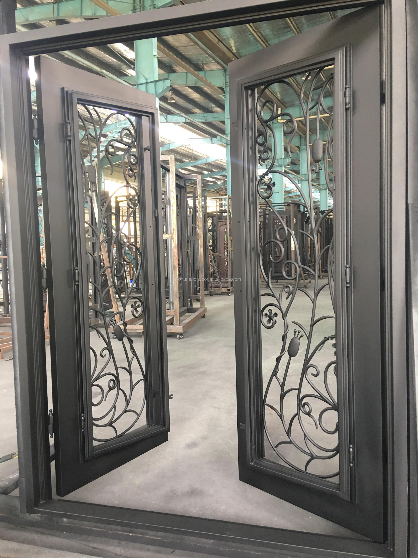 2018 New Villas Single Wrought Iron Door With Glass Window