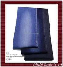 TR deep blue stretch denim fabric 2016 hot sale & good price 3/1 right twill with slub