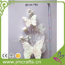 Hot selling Sequined christmas pick with two white butterfly with CE certificate