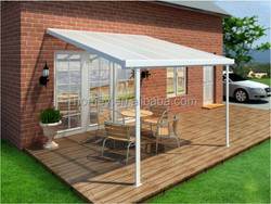 transparent PC panel aluminum sun room outdoor metal canopy