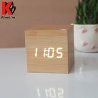 Home decoration cube imitation wood white led chinese alarm clock