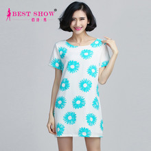 2015 Spring Summer Womens Fashion Latest Dress Designs Floral Print Short Sleeve Dresses Cheap China Wholesale Clothing 1520
