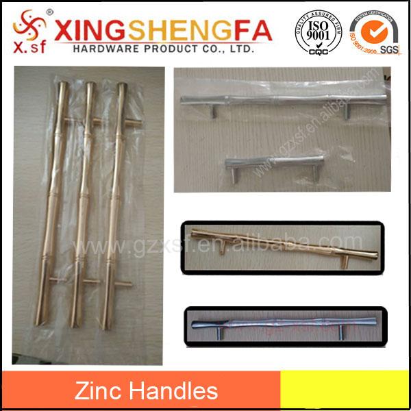 Chrome plaqué et gloden bambou droite poignées poignée en bambou