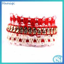 vendita calda di cristallo lavorato a mano braccialetto in pelle rossa braccialetto macramè 2015