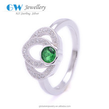 New Fashion 925 Sterling Silver Green Stone Tanzanite Ring