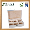 Factory customized solid pine unfinished wooden tea storage boxes with 6 compartments