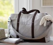 Fashion waxed canvas Fashion cotton canvas Genuine leather mummy Diaper Bag wholesaler