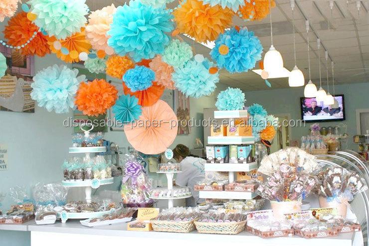 Pink Hanging Tissue Paper Fans Garden Birthday Party Dessert Table ...