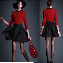 Three quarters sleeve ladies red body black skirt retro dress OEM
