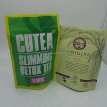 Zip top tea pouch/plastic zipper tea packing bag/black tea package