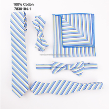 Manufacturer Of Fashion ODM Wholesale Casual Blue And Yellow Stripe Cotton Pocket Square Bow Tie Necktie Set