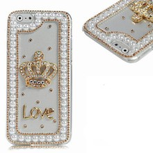 Luxury Rhinestone Diamond Bling Crystal Handmade Cell Phone Cover Case for iphone 6 White Gold Crown