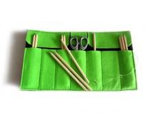 Custom cheap light green felt roll up pencil case for kids