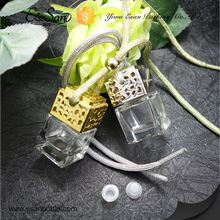 FMS014 6ML Wholesale Square Shape Metal Cap With Rope Glass Refill Empty Car Perfume Diffuse Hanging Bottle
