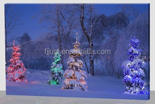 Light up handmade painting,christmas tree oil painting on canvas