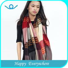 Fashionable plaid pashmina fleece crochet shawl