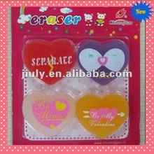 2014 COLORFUL HEART ERASER WITH BLISTER FOR IDEAL VALENTINE GIFT
