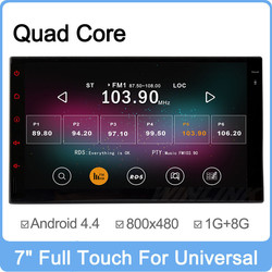 Wholesale Price 2G Ram 16GB Flash Full Touch Panel Quad Core Android 4.4 2 din car radio player Support OBDll