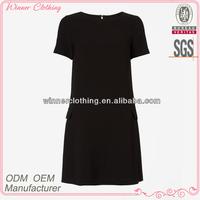 Simple fashion plain black short sleeve designs girl frock dress
