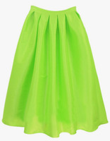 Skirts Bottoms fashion women girl clothes Bright Green Flare Pleated Long Skirt