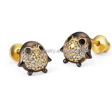 14k Gold Plated Brass Penguin Screwback Girls Earrings Sterling Silver Post safety pin earring
