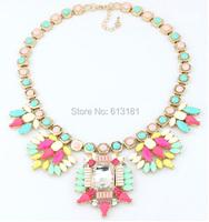 Новая Радуга смола цветок кулон ожерелье женщин ожерелья ювелирные изделия кристалл воротник заявление