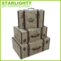 Linen facing wooden decorative suitcase with crown printing