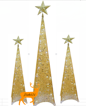 2015 Metal Crafts Led Light Christmas indoor & outdoor quadrangle metal tree with topper star for christmas decoration