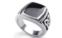 factory exquisite stainless steel rings with black stone for men cute jewelry cheap bulk wholesale