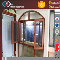 Arch Top Aluminium Frame Double Panes Swing Outside Window with Swing Inside Mosquito Net