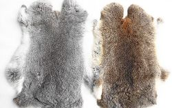 Natural Genuine Raw Chinchilla Rabbit Fur Pelt Plate Real Black Rex Rabbit Skin