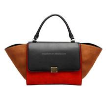 2015 Contrast Color Special Shape 100% Genuine Leather Handbag