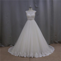 2015 sheer lace sexy floor-length train discount wedding dress with magic tulle skirt