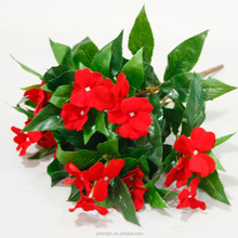 China factory cheap wholesale fabric flower unpotted pink red impatiens silk flower wedding indoor decoration