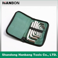 9pcs standard nickel-plated Allen Hex Key set in canvas bag