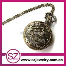 Small size bronze antique pocket watch with train steampunk unique design rare pocket watch