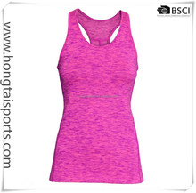 Customized yoga top vest POLYESTER sportswear with back racer design with wicking function fabric quanzhou BSCI factory