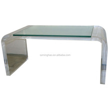 Clear Acrylic Coffee Table with Glass Top, Lucite Coffee Table with Glass Top, Clear Acrylic Lucite Waterfall Dining Table