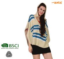 merino wool/lady's/ women's irregualr bat-wing merino wool beige cardigan with blue stripes