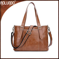 Multifuncation laptop shoulder leather bags women