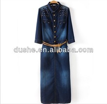 U'sake 100% Cotton Long Sleeve Denim Long Blue Maxi Jean Dress S120304
