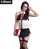 I-Glam Women's Sexy Lingerie Costume Cosplay Teacher Complete Outfit with Stocking Mini Dress White & Black