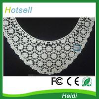 38cm handmade diy clothes accessories lace 100% cotton false collar, beige flower laciness trim